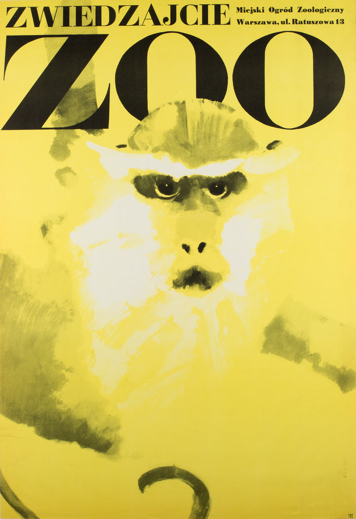 Polish Zoo Poster - Monkey 1967, Swierzy