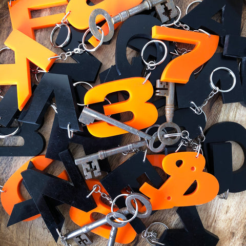 Reclaimed Letter Keyrings - Perspex Black & Orange
