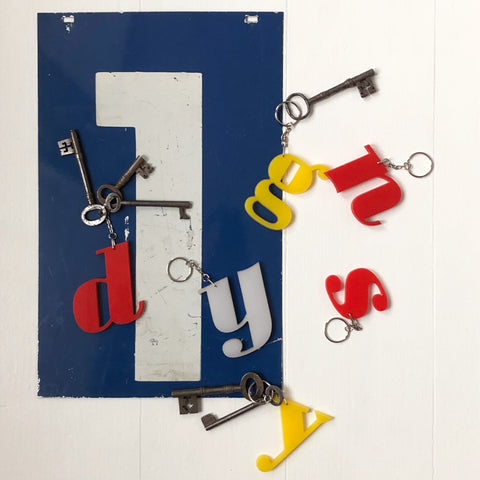 Reclaimed Letter Keyrings - Perspex White, Yellow & Red