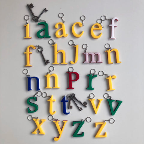 Reclaimed Letter Keyrings - Multicoloued Lowercase Perspex