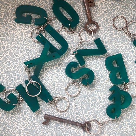 Reclaimed Letter Keyrings - Green Perspex