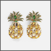 bright yellow and green crystal covered medium sized pineapple drop earrings
