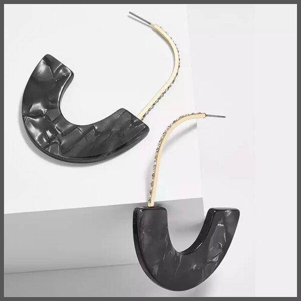 Charcoal and crystal embellished drop hoop earrings