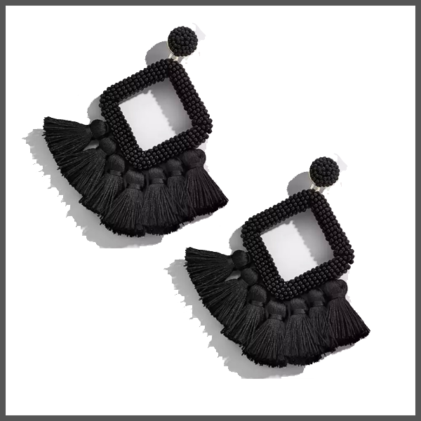 black fringe and hand beaded celeste drop earrings hypoallergenic