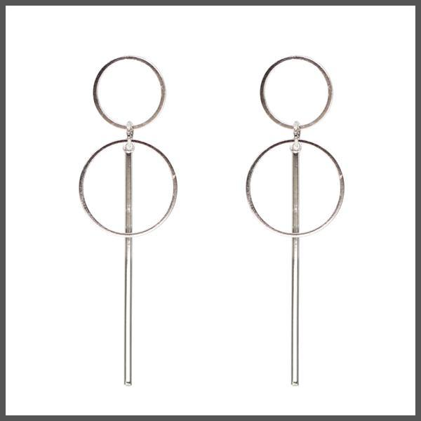 silver simple two hoop and bar drop earrings