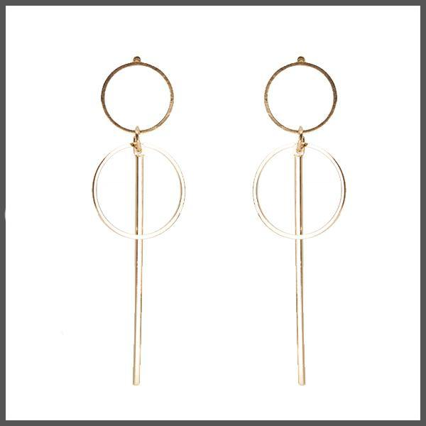 gold simple two hoop and bar drop earrings