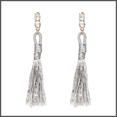 silver drop earrings with a shimmering long cotton tassels