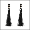 black drop earrings with a shimmering long cotton tassels