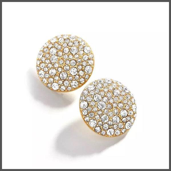 Gorgeous button stud gold earrings covered with shimmering crystals of various sizes