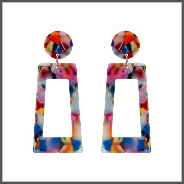 rainbow coloured resin acetate front facing rectangle shape earrings with a front facing circle post