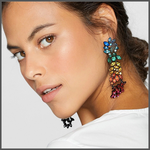 bright blue green yellow champagne orange red pink dangle large earrings on model girl ear