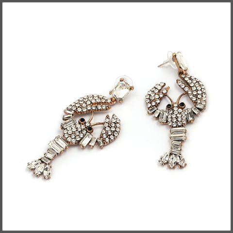 crystal covered crustaceans drop earrings