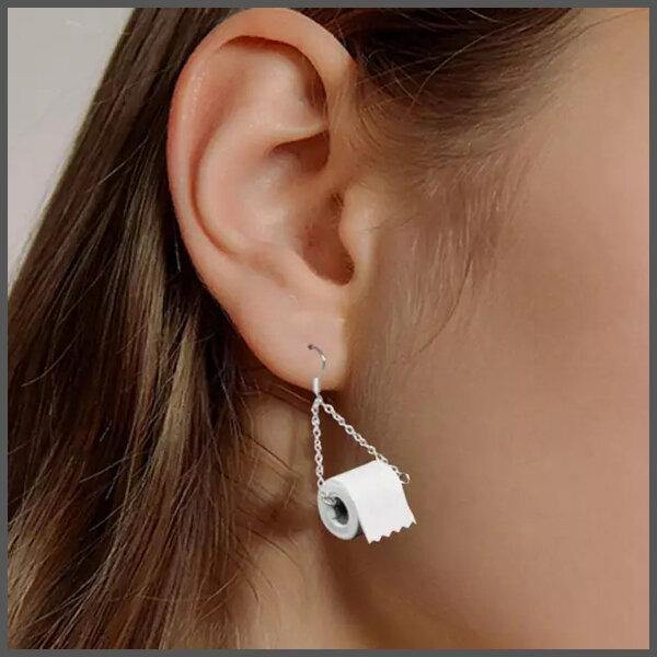 toilet roll earrings on ear
