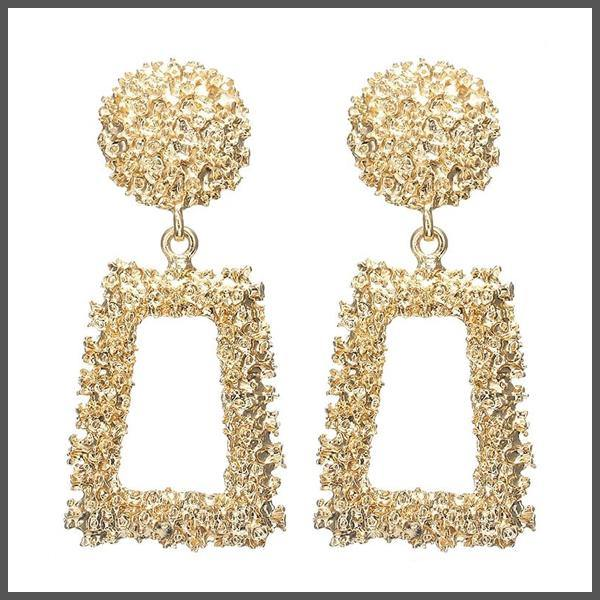 medium sized textured finish gold drop earrings