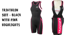 Load image into Gallery viewer, Triathlon Suit - Aropec black and pink