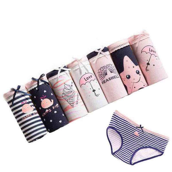 7 Pcs/lot Panties Women Underwear Cotton Briefs Sexy Panties Lingeries Cueca Calcinhas Shorts Underpant Girls Cute Panty Ladies