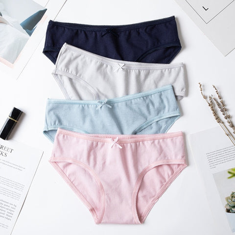 4pcs/lot Sexy Panties Women Cotton Breathable Underwear Briefs for Female Bow Seamless Low Waist Lingerie Pants Solid color
