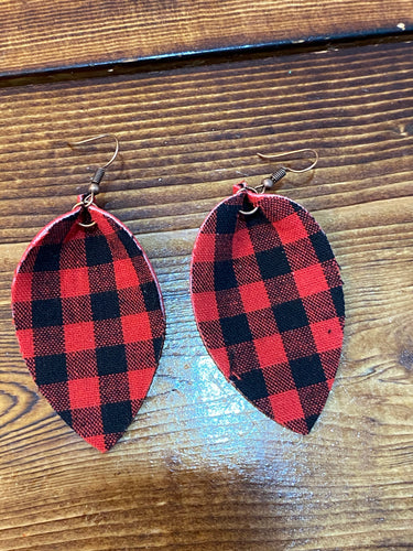Red and black plaid earrings