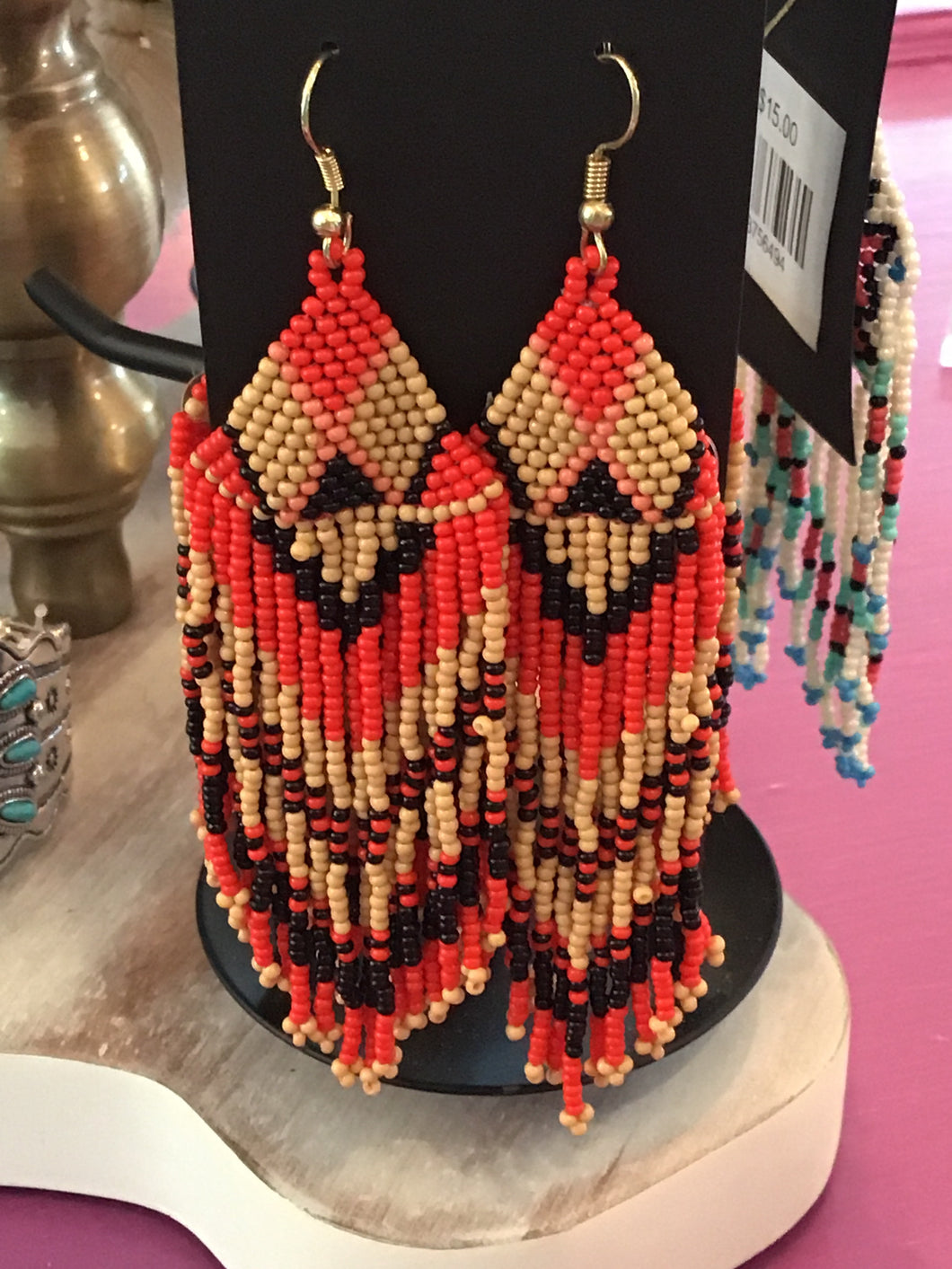 Red and cream seed bead earrings