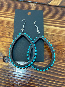 Black and turquoise teardrop earrings