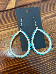 White and turquoise teardrop earrings