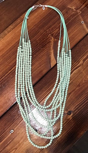 Betsy Bead 7 Strand Necklace in Mint
