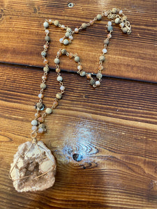 Light tan stone necklace
