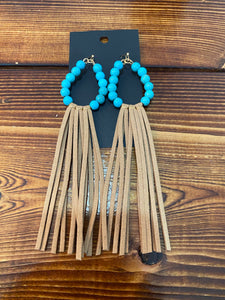 Turquoise with brown fringe earrings
