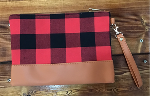 Red and Black Plaid Clutch