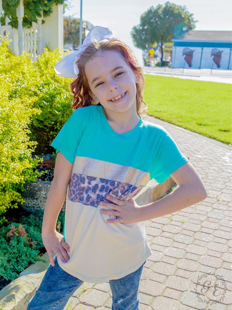 Girls leopard color block tee