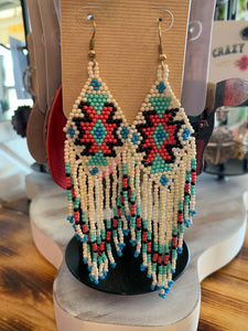 White Aztec beaded earrings
