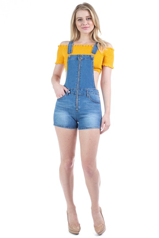Zip-up Denim Overall Shorts