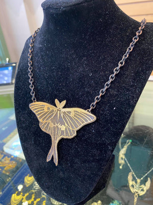 Brass Luna Moth Necklace