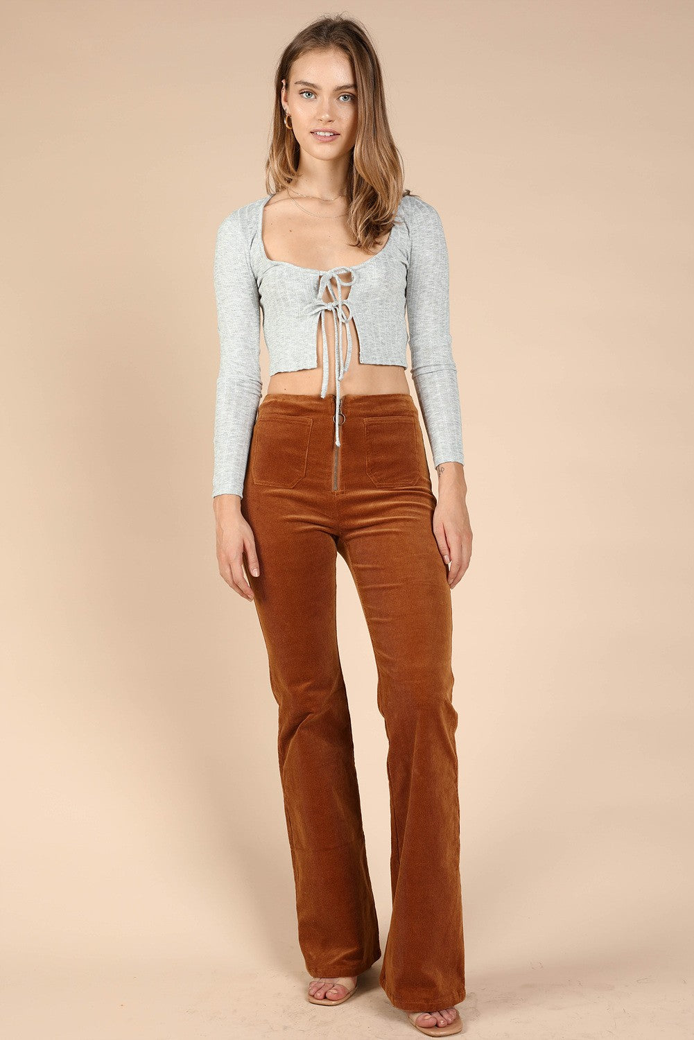 High-Waisted Zip-Up Corduroys