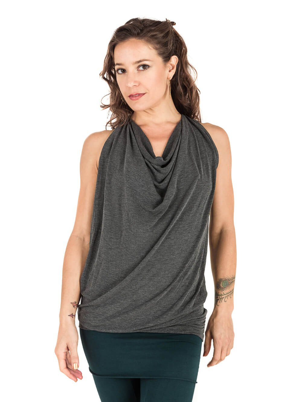 Womens Sleeveless Rayon Jersey Waterfall Top in Heather Grey