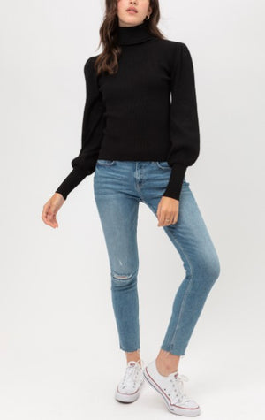 Puff Sleeve Ribbed Turtleneck