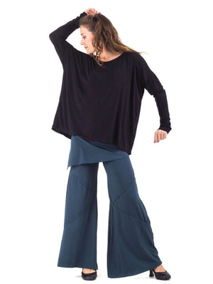 Womens Rayon Jersey Boyfriend Top in Black with Wide Leg Panel Rayon Jersey Pants in Teal