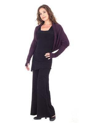 Womens Rayon Jersery Long Sleeve Boyfriend Top in Plum as a Shrug with Wide Leg Panel Rayon Jersey Pants in Black