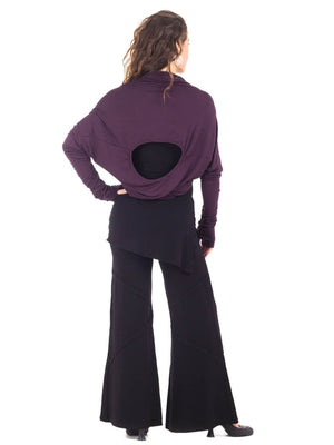 Womens Rayon Jersery Long Sleeve Boyfriend Top in Plum as a Shrug with Wide Leg Panel Rayon Jersey Pants in Black-back view