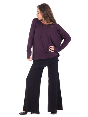 Womens Rayon Jersery Long Sleeve Boyfriend Top in Plum with Wide Leg Panel Rayon Jersey Pants in Black