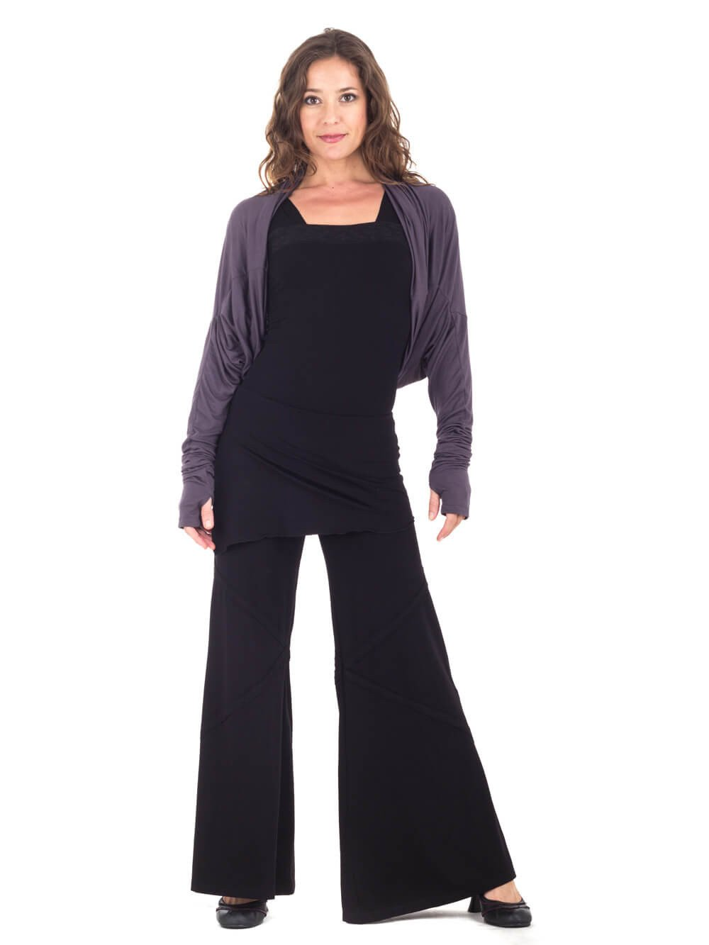 Womens Rayon Jersey Boyfriend Top in Steel Grey as a Shrug with Wide Leg Panel Rayon Jersey Pants in Black