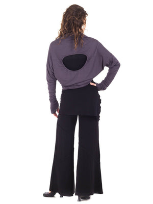 Womens Rayon Jersery Long Sleeve Boyfriend Top in Steel Grey as a Shrug with Wide Leg Panel Rayon Jersey Pants in Black-back view