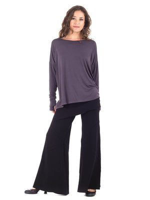 Womens Rayon Jersery Long Sleeve Boyfriend Top in Steel Grey with Wide Leg Panel Rayon Jersey Pants in Black
