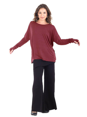 Womens Rayon Jersery Long Sleeve Boyfriend Top in Plum as a Shrug with Wide Leg Panel Rayon Jersey Pants in Wine