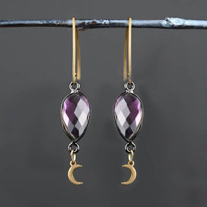 Amethyst & Moon Simple Earrings