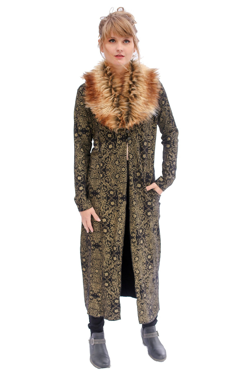Fur Collar Botanical Lounge Robe