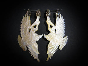 Owl Earrings- Mother of Pearl