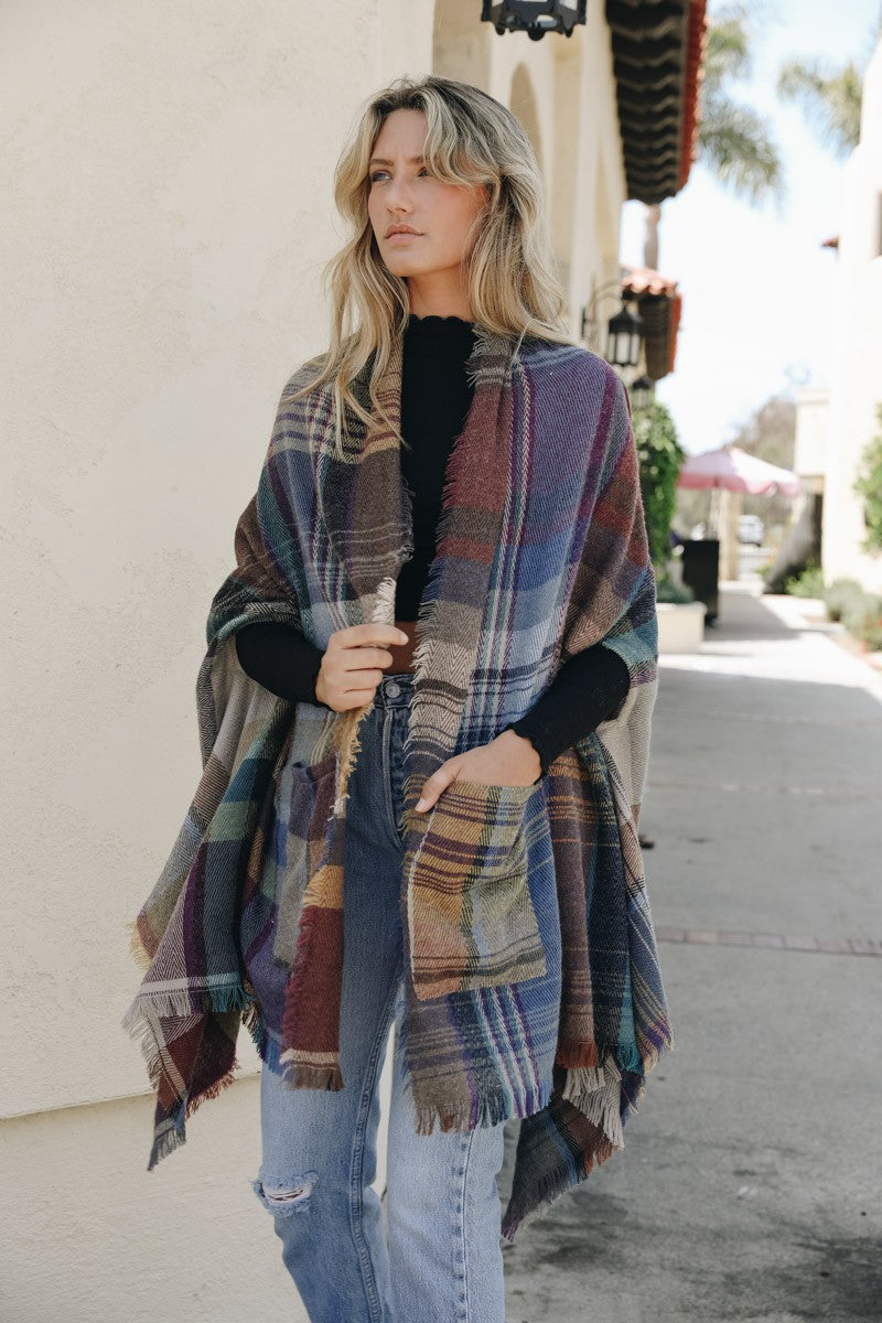 Cozy Plaid Pocket Ruana