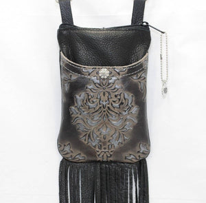 Black & Silver Fringe Cell Phone Bag