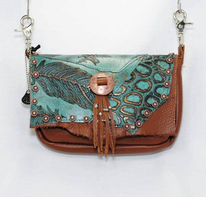 Turquoise Feather Tooled Convertible Hip Bag